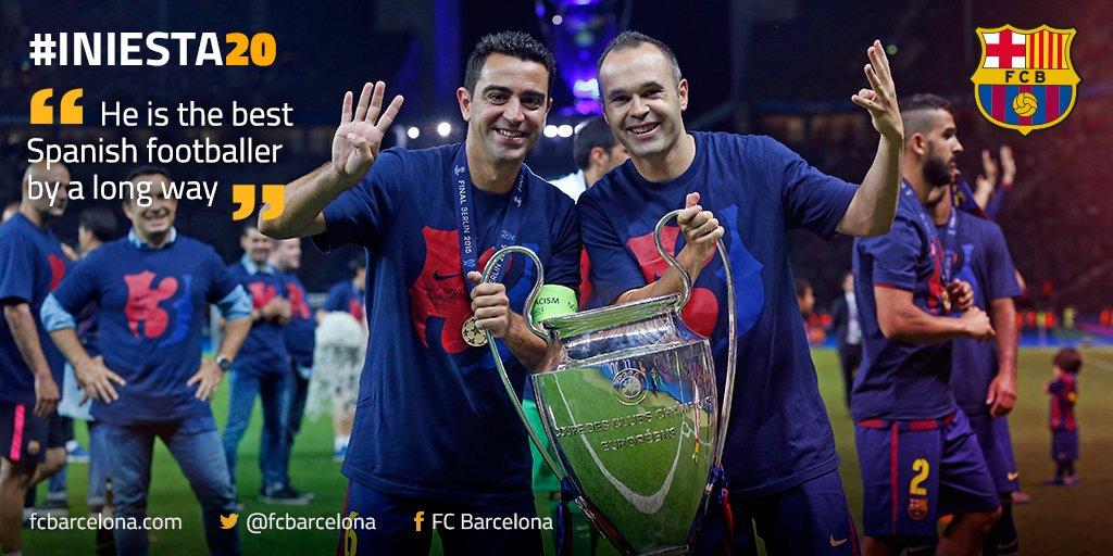 Is @andresiniesta8 the best Spanish player? Xavi thinks so! #Iniesta20 https://t.co/0OPLSyLQtB