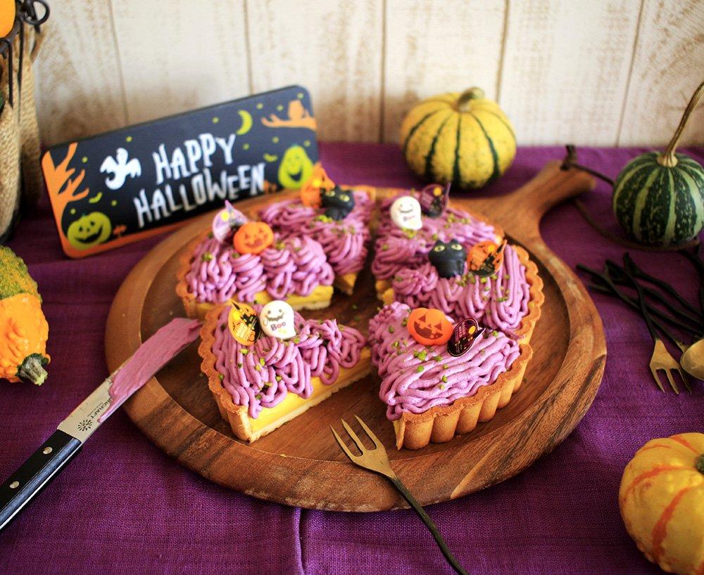 みゅまこさんの【かぼちゃと紫いものハロウィンチーズタルト】 かぼちゃペーストと紫いもペースト、市販のタルト型を使用したチーズタルト