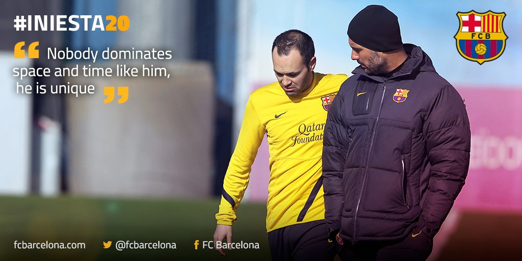 Pep Guardiola can vouch for @andresiniesta8's dominance. #Iniesta20 https://t.co/Jq4IbYZ7sz