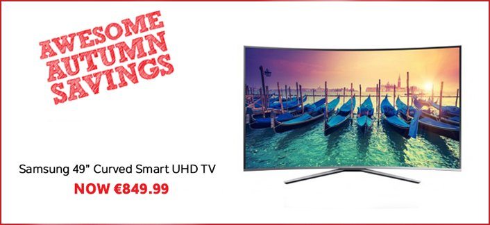 "Grab yourself a bargain in store and online w/ the Samsung 49"" Curved Smart UHD TV! https://t.co/1bJbkfv7x2 https://t.co/nLg0zzh4A1"