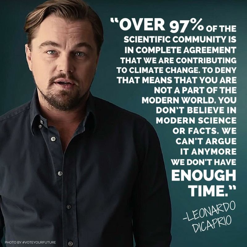 He's right — we don't have time to argue about it.   And thank you @LeoDiCaprio for your powerful words. https://t.co/JdnqzXKzjx