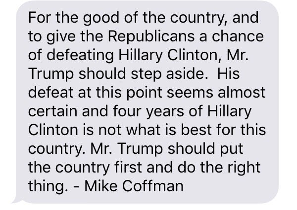 BREAKING: @RepMikeCoffman now calls for @realDonaldTrump to step aside. DEVELOPING. #copolitics #TrumpTapes #Denver7 https://t.co/xArJfQEBt8