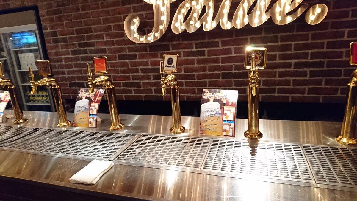 シュラスコ!ドリンクはサーバーからセルフサービスで飲み放題。ドイツビールがあるのが嬉しい(*≧∀≦*)ワインは樽、ハイボ