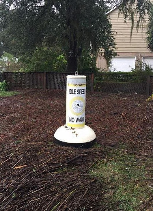 This #SCDNR buoy made its way to land in Beaufort.  Photo courtesy of Rep. Shannon Erickson.  #Matthew https://t.co/zg81jNoqXA