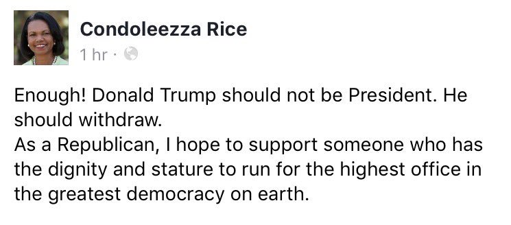 Former US Secretary of State Condoleezza Rice urges Donald #Trump to withdraw from presidential race. Statement: https://t.co/WkLcmoqcLM