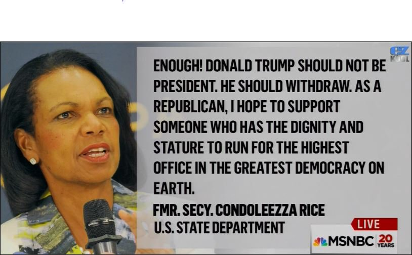 Condoleeza Rice's message to Donald Trump #grabbedbythepussy https://t.co/AJ13SvxxTZ