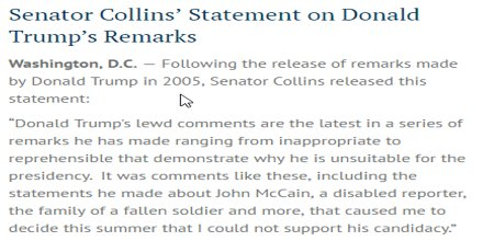 Sen. Collins' statement on release of Donald Trump's 2005 remarks: https://t.co/Fu0KADiSYL https://t.co/SP83P92kaC