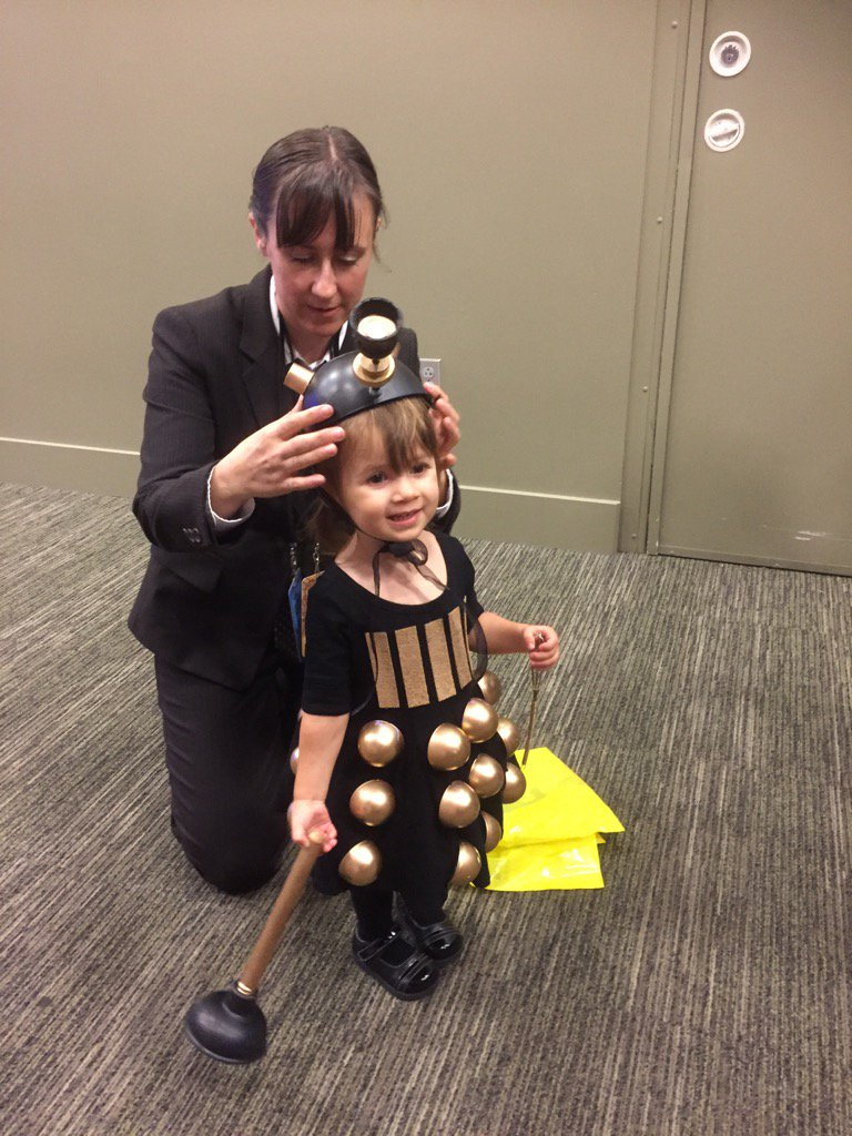 """The cutest little Dalek. She said """"exterminate"""" in a tiny little voice. #GeekGirlCon"""