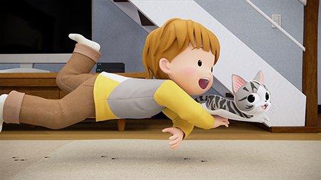 おはよー。みんな もう おきてう?あと ちょっとれチーのアニメ はじまうよ!みてね〜「こねこのチー ポンポンらー大冒険」