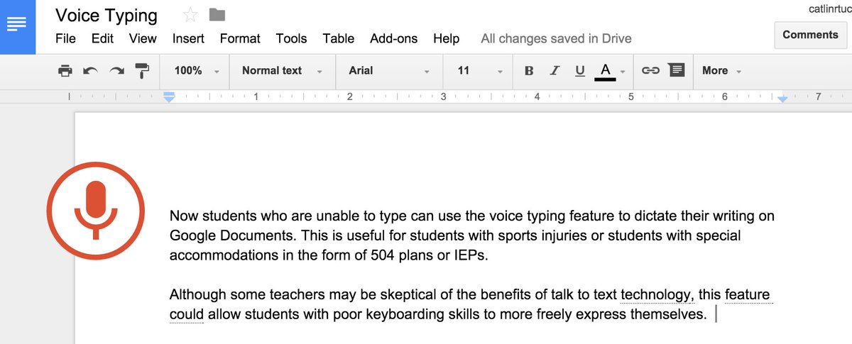 Voice Typing in Google Documents https://t.co/Z1aKRJqX2X https://t.co/YSv5lcJ3T2