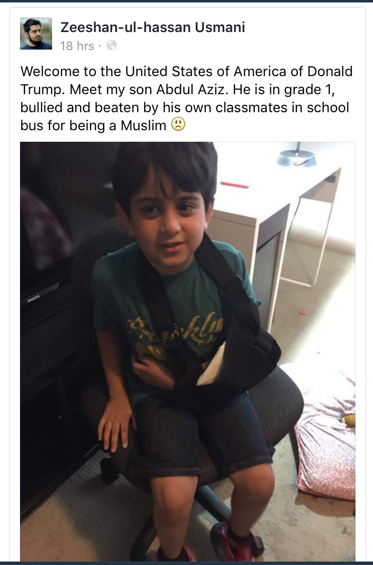 First grader Abdul Aziz was beat up by his classmates for being #Muslim #MakeAmericaGreatAgain #TrumpsAmerica https://t.co/SBfdBAqu23
