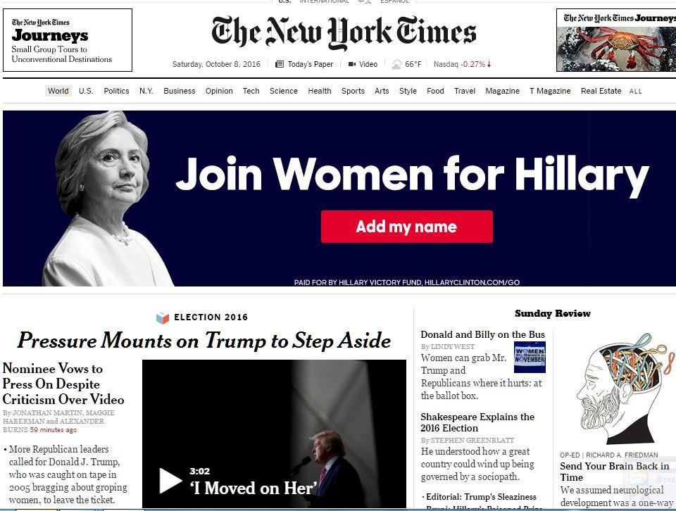 Hillary Clinton ad sits like a heavy anvil atop devastating @nytimes Trump headline tonight https://t.co/ofFsgx4Gld