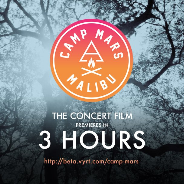 3 HOURS TO GO. Watch + own #CAMPMARS: THE CONCERT FILM premiering TODAY at 12PM PT: https://t.co/t8wHvoqOKM https://t.co/mNYKo4oodb