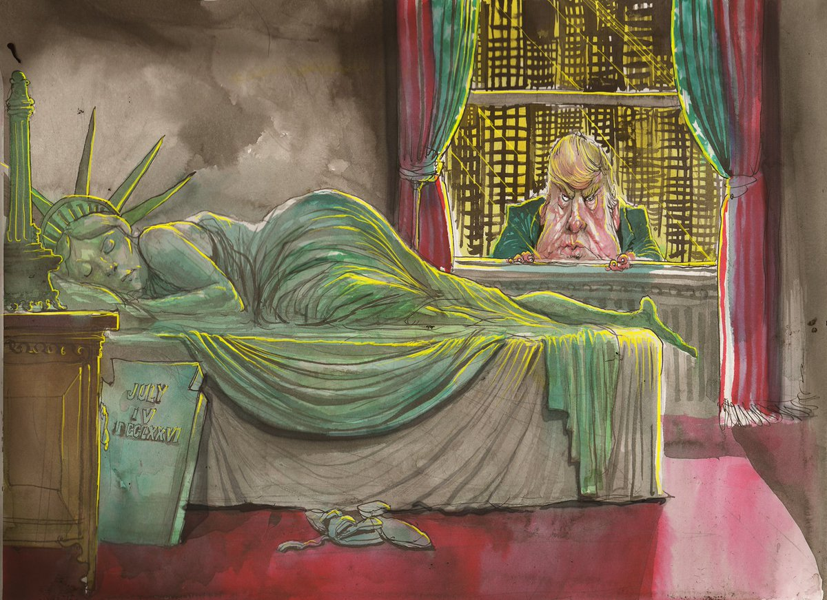 Australian artist @roweafr creating some of the most disturbing, downright chilling, cartoons of #USElections2016 https://t.co/JvXvQlXFzc