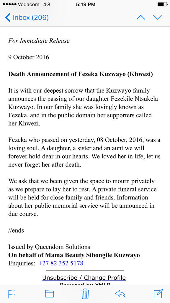 #Khwezi This is sad news. https://t.co/8guV4cSLqw https://t.co/lMKlJFNhYh