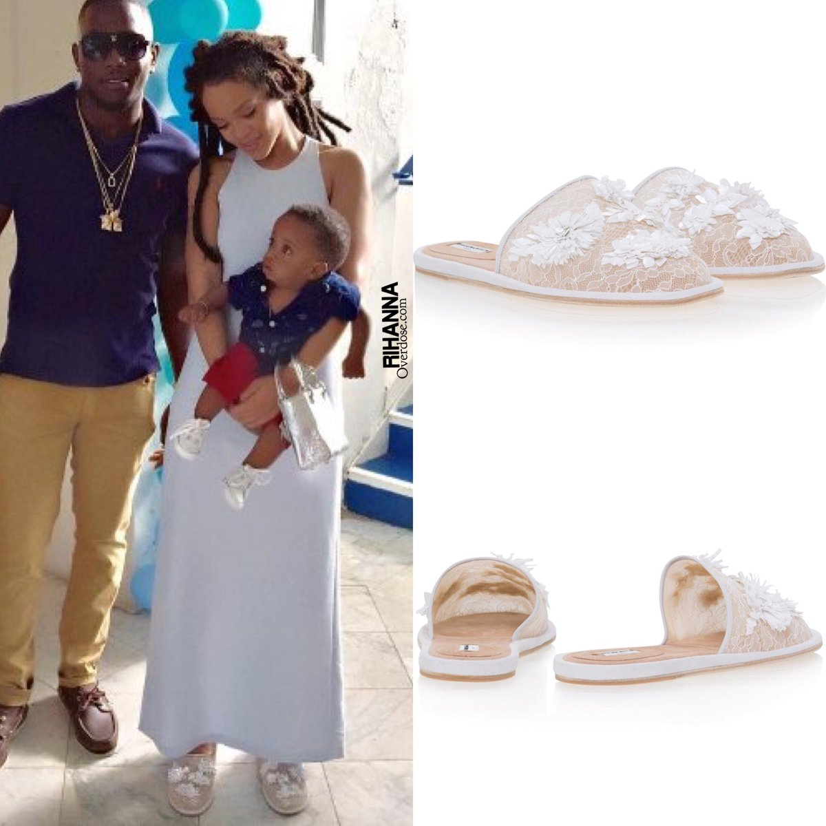 Rihanna is wearing Spring 2016 $1,545 @Balenciaga Beaded Lace Slippers today in Barbados » https://t.co/rUUFFs1bnI https://t.co/PyIxwq5iQi