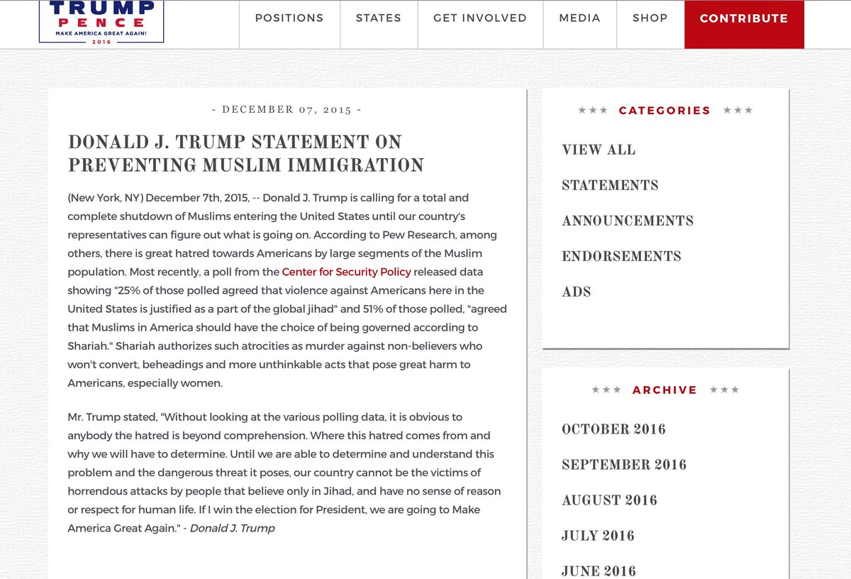 Trump's anti-Muslim policy, still live on his site: https://t.co/OhxjeAiudY