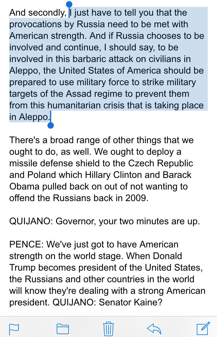Pence complained Raddatz mischaracterized his views on Syria ... but she literally repeated what he said. Pence on… https://t.co/aFsAQGQInz