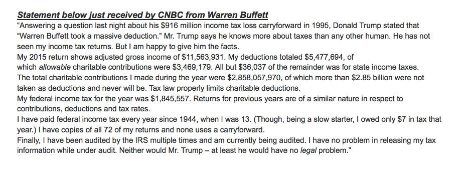 brilliant response from @warrenbuffett on trump calling him out on taxes. https://t.co/6xfFBiuNeu