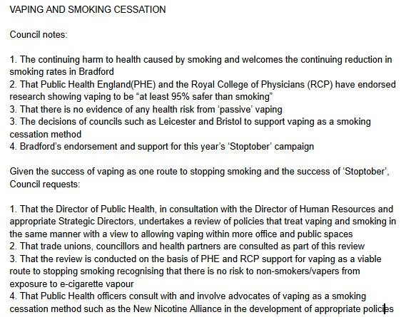 For those interested, here is our vape friendly motion for @bradfordmdc meeting next week. https://t.co/VKbQ1Lj4XG