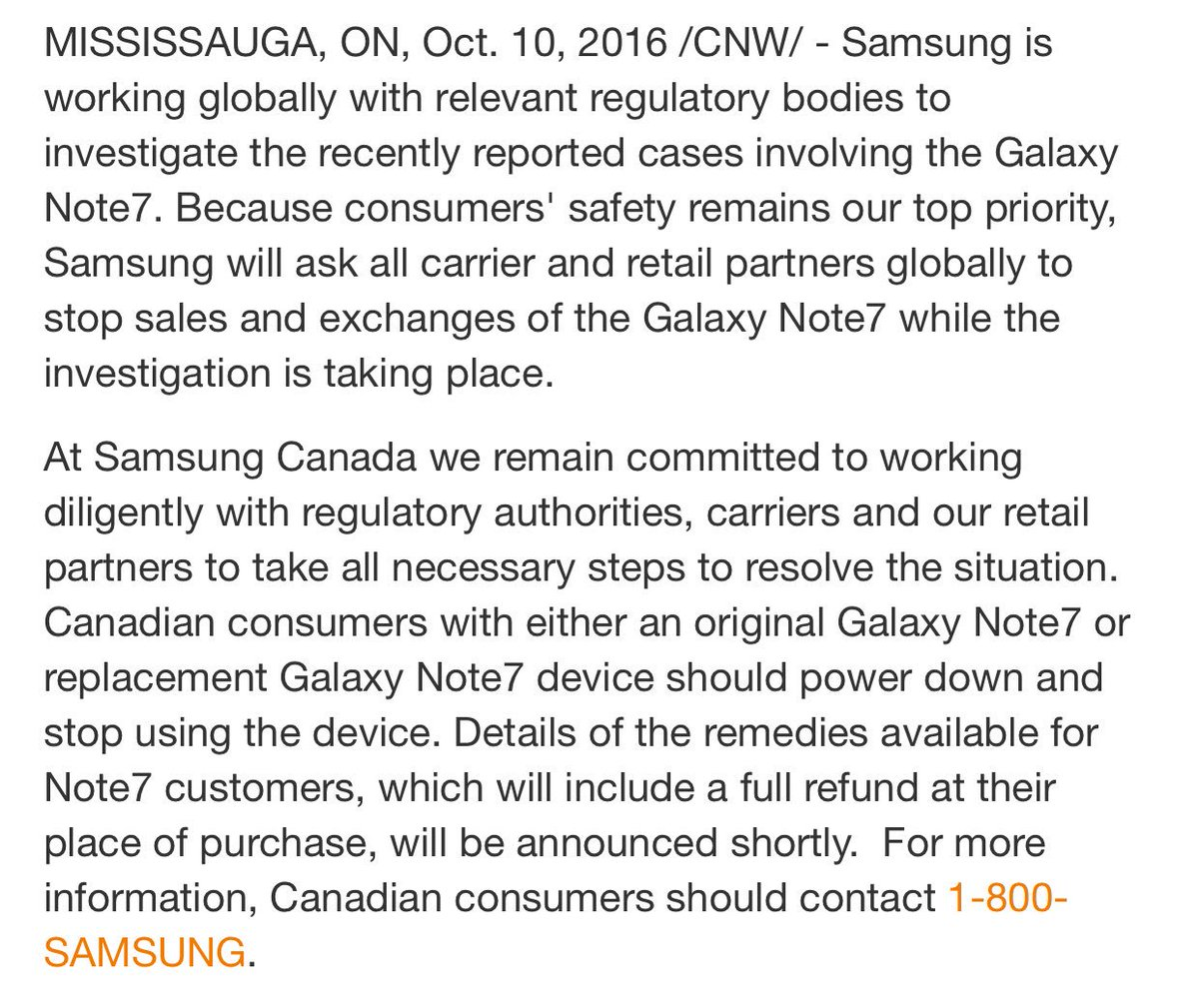 Samsung Canada has issued a statement about the Galaxy Note 7. Same as other markets: Power down and return it. https://t.co/cdfyiTSwQB