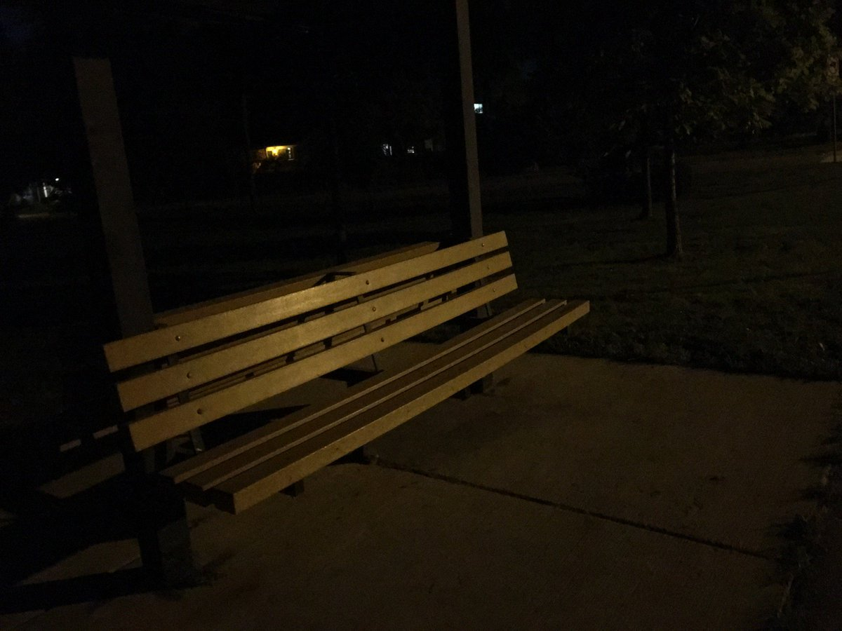 Lonely late night park bench (@ redwood park in ann arbor ...