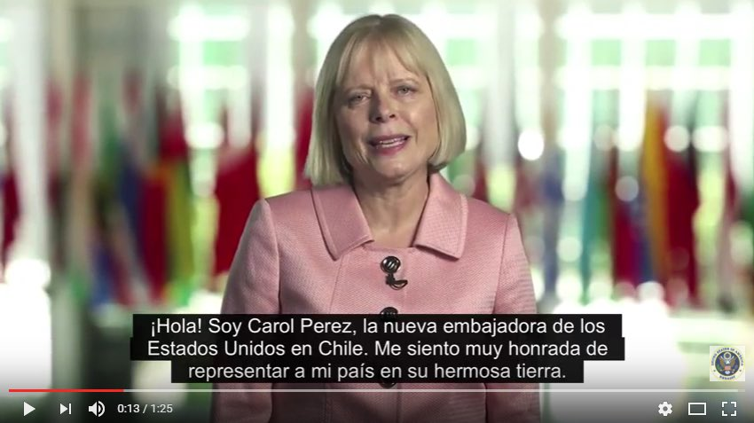Video: ¡Conoce a la nueva embajadora de #EEUU en Chile, Carol Perez! https://t.co/PciXb00z0W https://t.co/NBEdWO3O2n