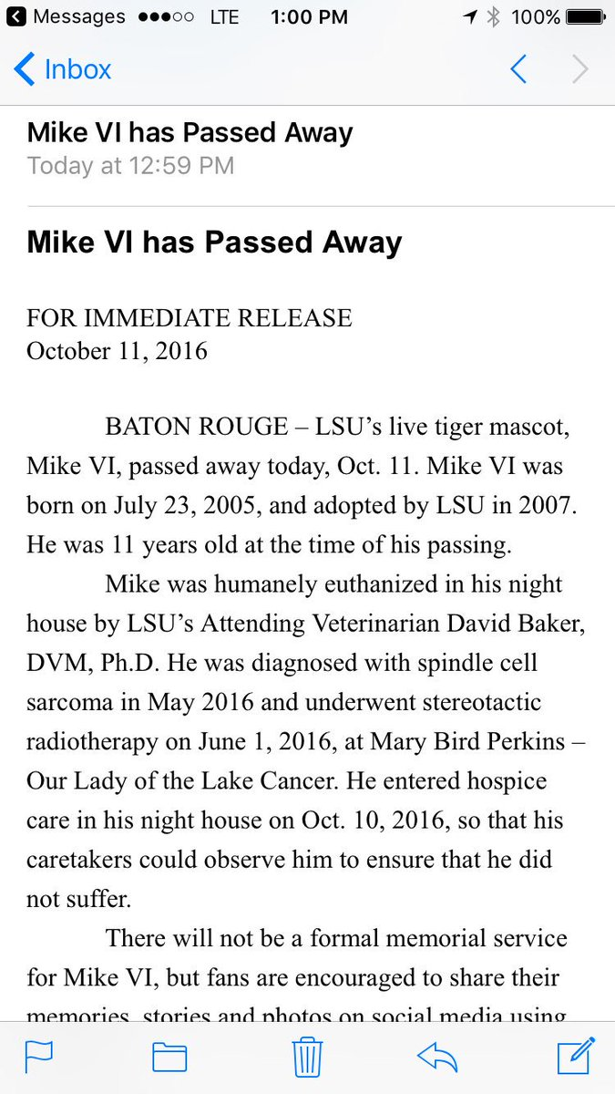 #LSU's Mike the Tiger has passed away. https://t.co/mzyQupiEIs