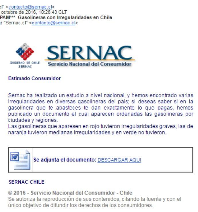 "Advertencia! Está circulando falso mail del Sernac. Asunto es ""gasolineras con irregularidades en Chile"". No abrir https://t.co/RrNp4f6SDW"