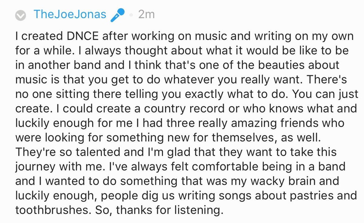 Why Joe created DNCE