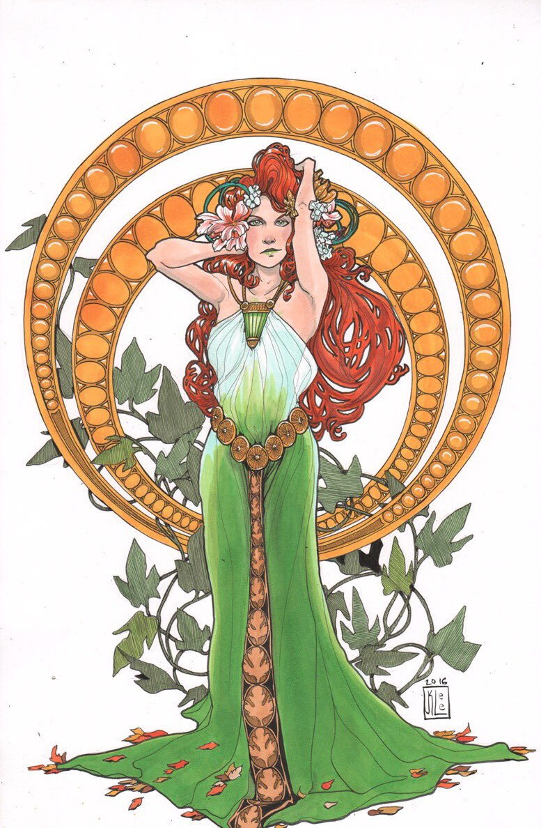 The finished Art Nouveau Super Villains I did for NYCC: Poison Ivy. https://t.co/7Wv6EduMgy