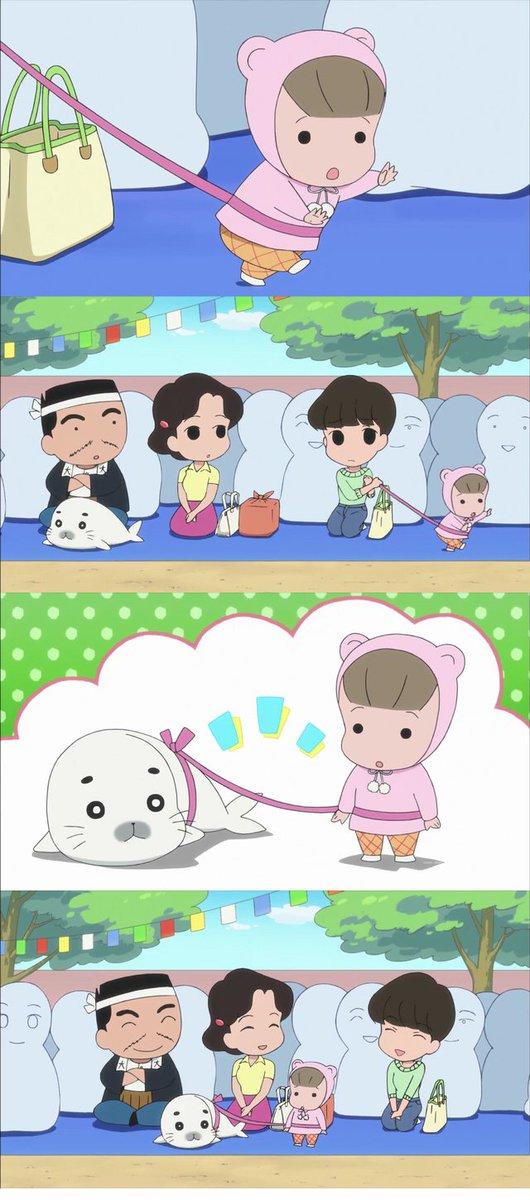 少年アシベGO!GO!ゴマちゃん第18話アニメで迷子ひも・子供用ハーネスが描写された最初の瞬間ではなかろうか。こうやって