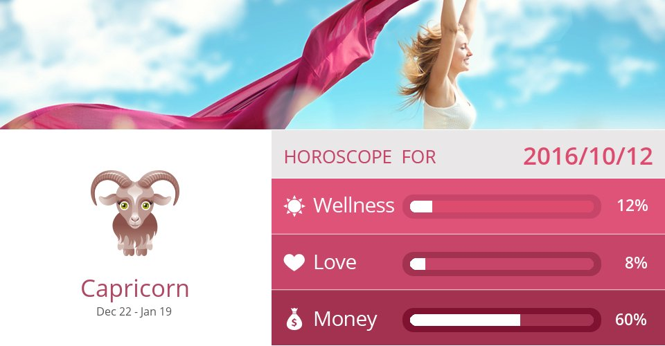 Oct 12, 2016: Wellness, Love & Money => See more: https://t.co/CiJVVVS19y Accurate? Like = Yes #Capricorn #Horoscope https://t.co/rGXk3lXVwo