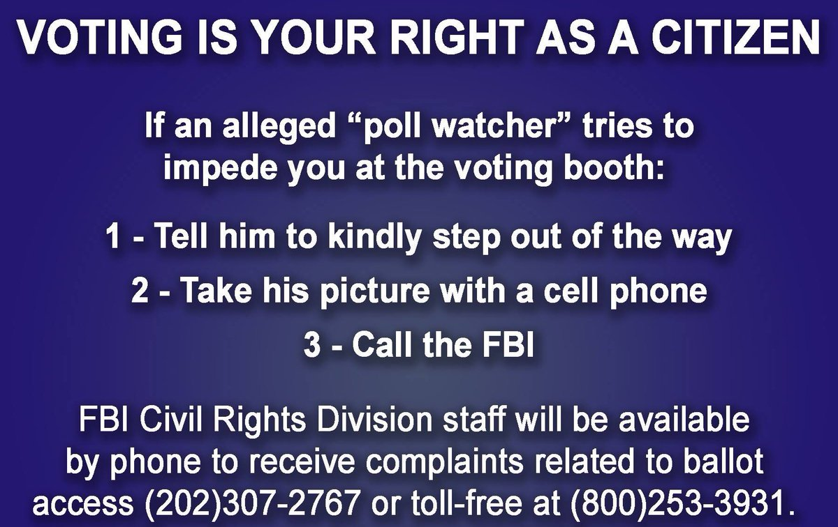 If you're at a polling place and someone tries to intimidate you or stop you from voting, here's what to do. https://t.co/JZzJtnkjGf