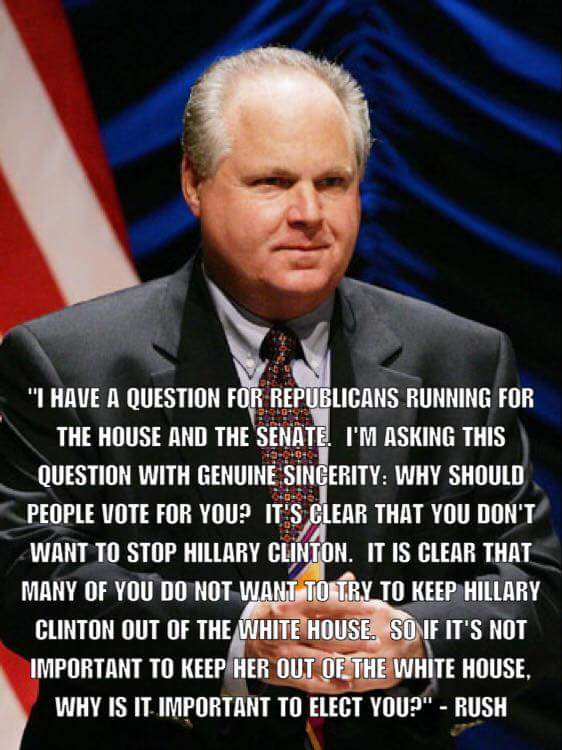 Heres a brilliant question for you #Republicans looking for our Vote .. @rushlimbaugh Nailed it https://t.co/bb2JAVH5UN