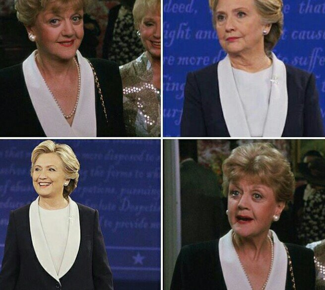 Is #HillaryClinton taking fashion tips from #JessicaFletcher #MurderSheWrote @_AngelaLansbury https://t.co/y1mPmOTUC2