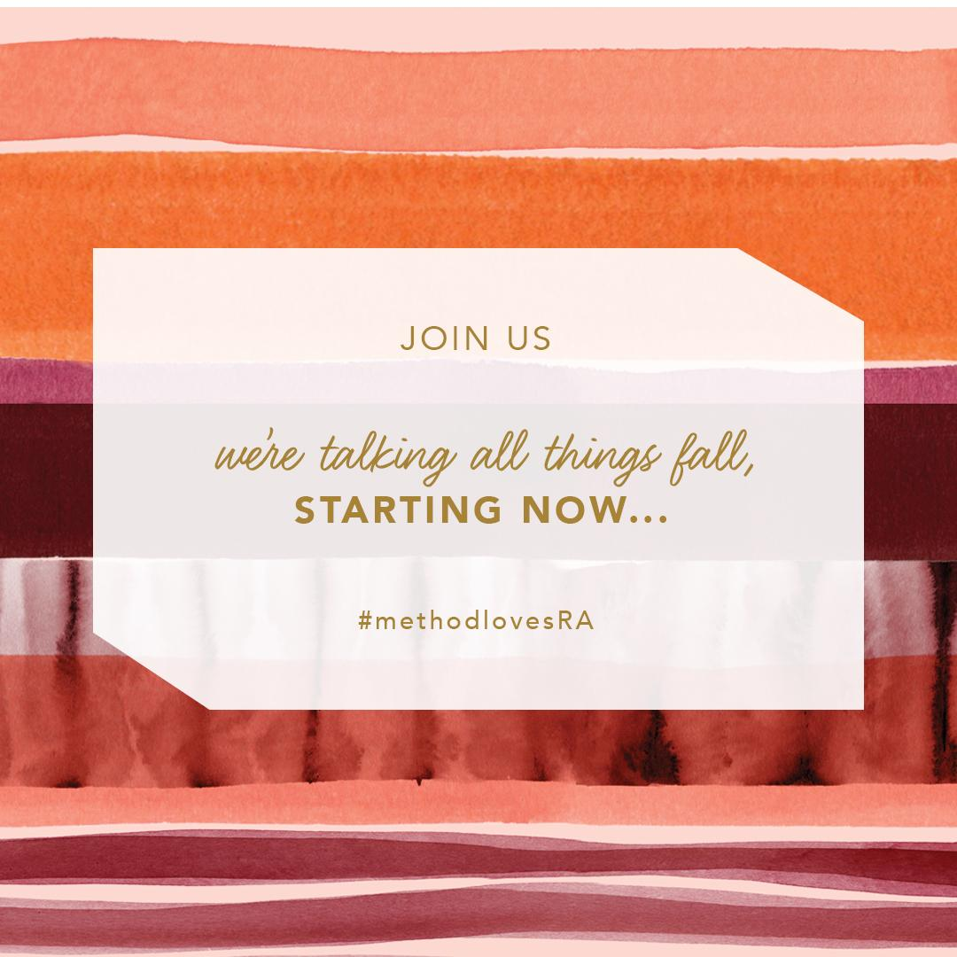 welcome to our #methodlovesRA twitter chat—we couldn't be more excited to kick this off. https://t.co/OpNf0F2c6A
