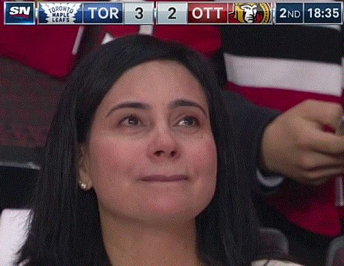 Ema Matthews after her son scores his 3rd goal on his 3rd shot in his first career NHL game. https://t.co/HDZu3AqtPh