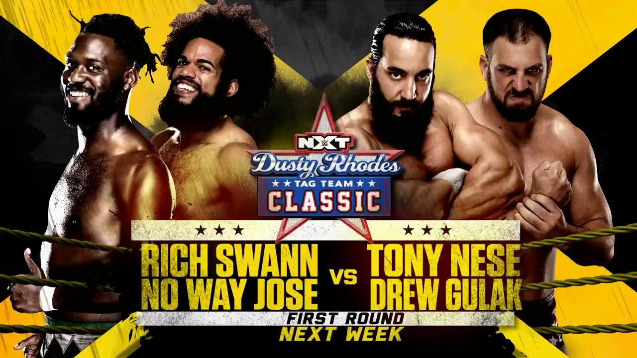 NEXT WEEK: @GottaGetSwann & @WWENoWayJose team up against @TonyNese & @DrewGulak! #DustyClassic #WWENXT https://t.co/HlyFeT8oyU