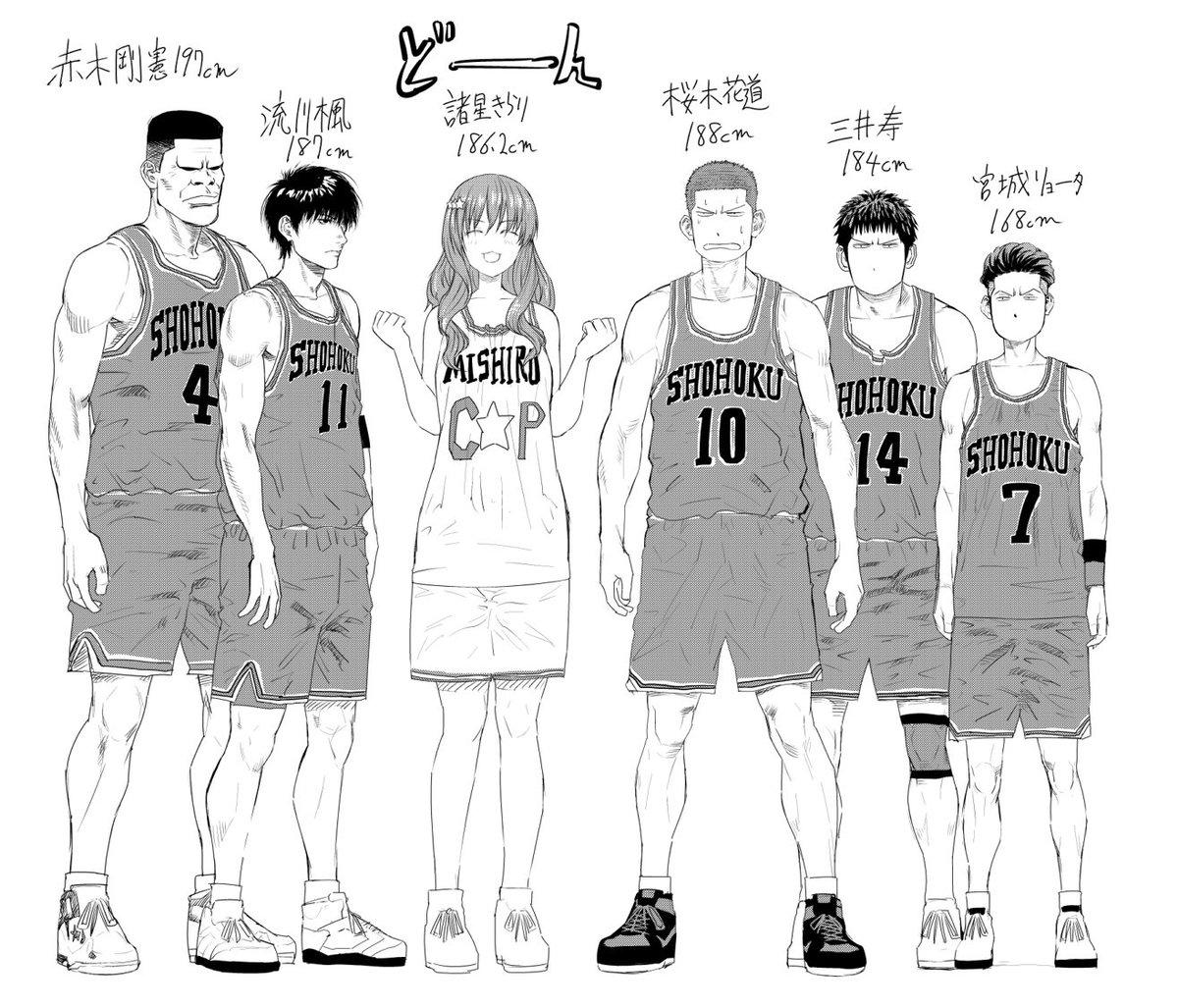 いつだったか話した、諸星きらりの身長186cmは、スラムダンクの湘北メンバーと並べても馴染むくらい凄いというのを、絵に描いてみました。