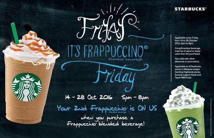 Peminat Starbucks 'Frappuccino'. Dari 14 - 28 Oct 2016 setiap hari jumaat 'Frappuccino' kedua FREE! https://t.co/tcl59mteoa