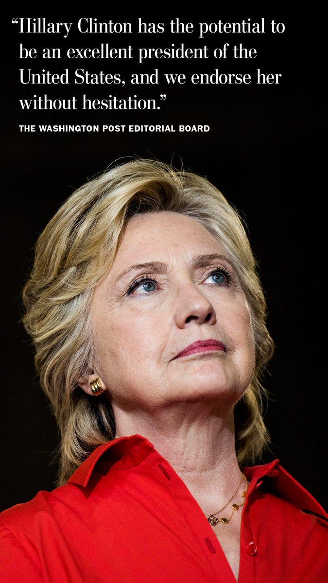 The Washington Post editorial board endorses Hillary Clinton https://t.co/7UdZuJ9GnT https://t.co/wX4kapZ9UC