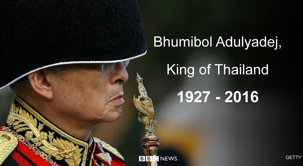 "Thai King Bhumibol Adulyadej ""passed away peacefully,"" palace says  https://t.co/9R9l5EcJQ7 https://t.co/v43DPHNUp5"