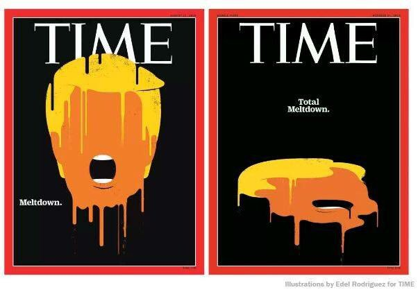 Time's sequel cover on Trump. August on the left, October on the right.