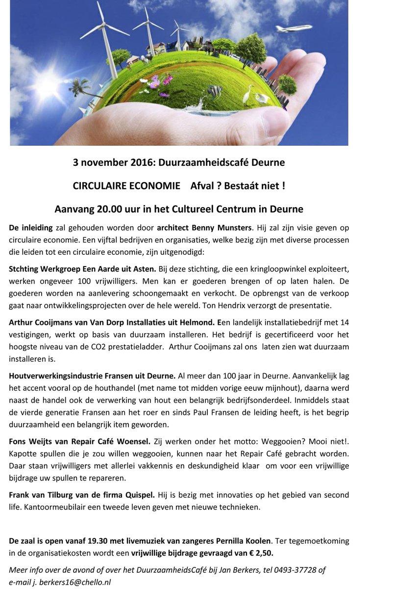test Twitter Media - 3 november, duurzaamheidscafé over Circulaire economie. Afval? Bestaát niet !  In het Cultureel Centrum in Deurne. https://t.co/2TBCedXod9