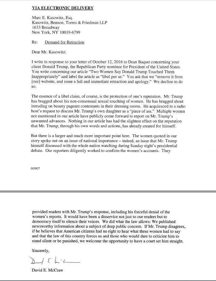 NYT responds to Trump re: cease and desist https://t.co/3AozcWSIl6