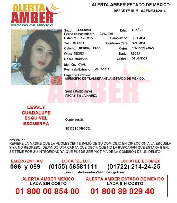 Activan Alerta Amber para localizar a Lessly Guadalupe Esquivel Esguerra, de 17 años. jn https://t.co/0AX4sAdR8B