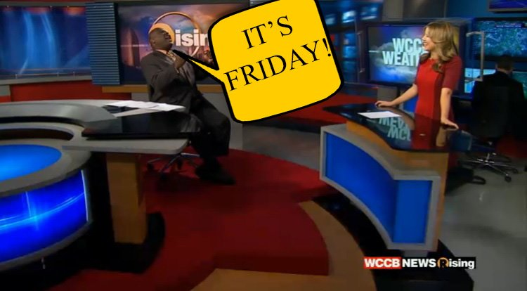 How we start every Friday show! RT is you're happy that it's Friday!  @tbates97 @KaitlinCody  #WCCB #Clt #Friday https://t.co/3x54XNfJNr