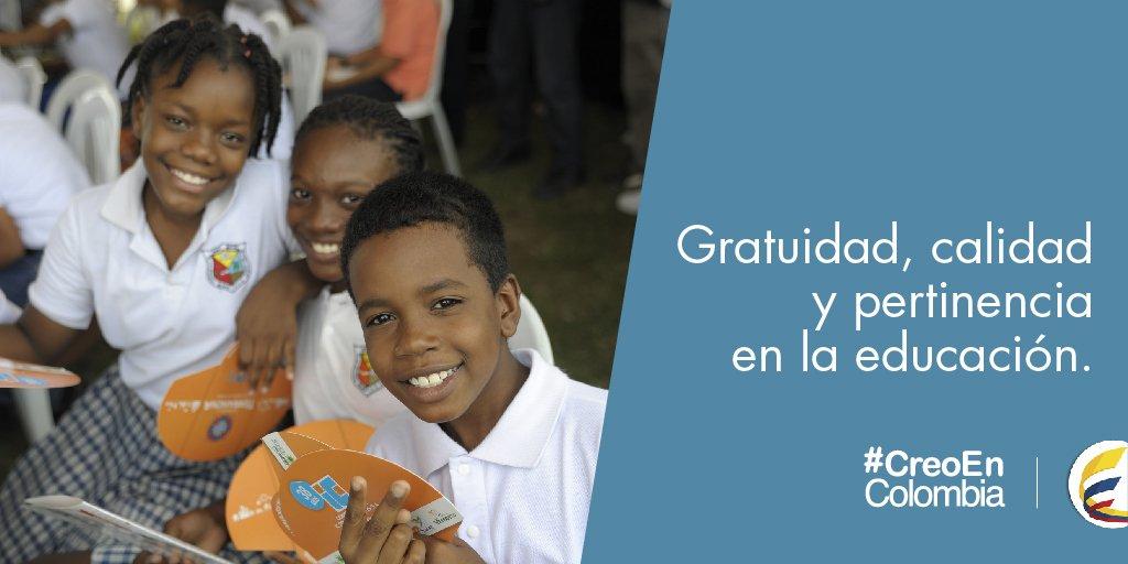 Gratuidad, calidad y pertinencia en la educación, razones para creer que es posible un mejor país #CreoEnColombia https://t.co/uWqGrGKjbg