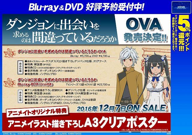 【BD&DVD情報】OVA「ダンジョンに出会いを求めるのは間違っているだろうか」発売決定ナゴ!気になる発売日は1